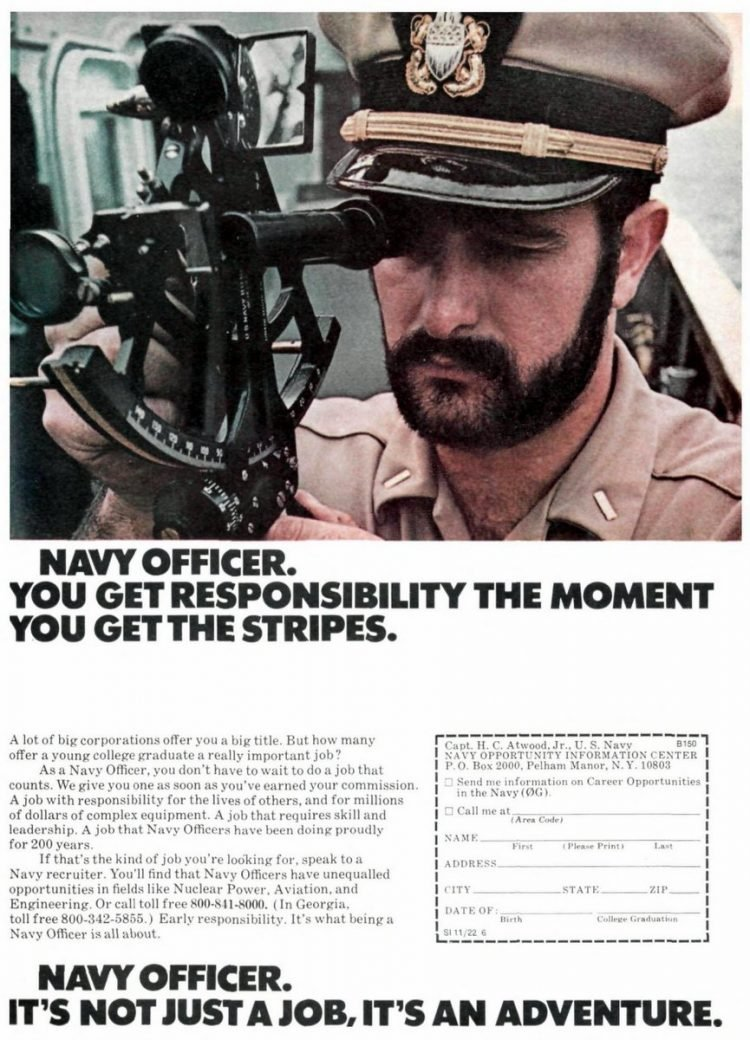 Navy officer recruitment ad - 1976