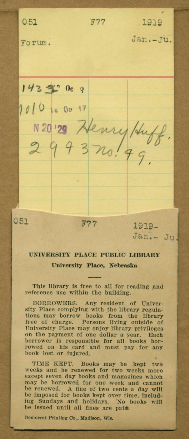 Nebraska library due date card from 1929