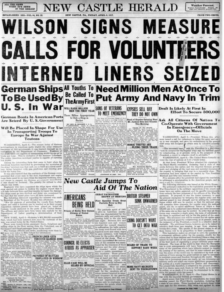 New Castle Herald newspaper front page - US in World War I - April 1917