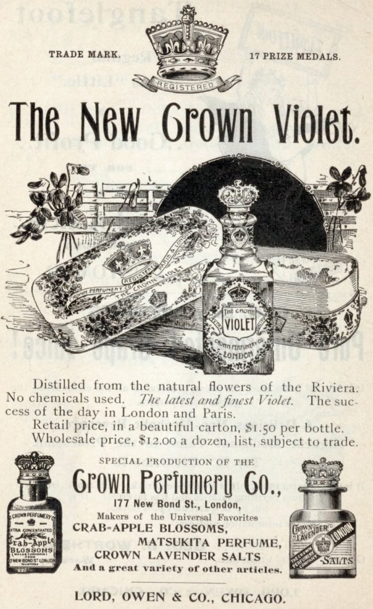 New Crown Violet perfume and soap - Antique drugstore stock (1896)
