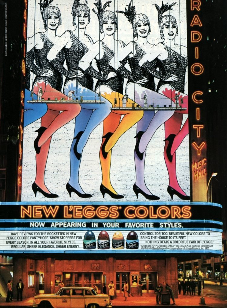Vintage '80s pantyhose - New L'eggs colors (Radio City Music Hall) 1985