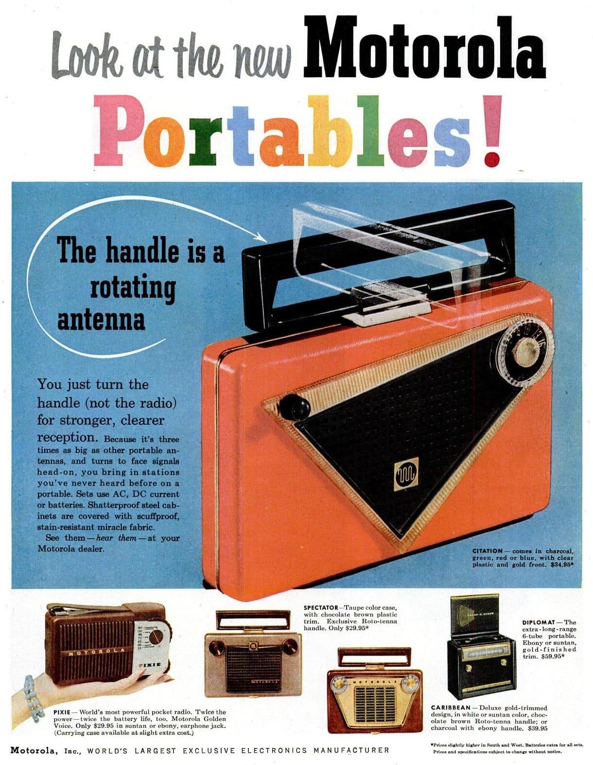 New Motorola Portables - AM radios (1955)