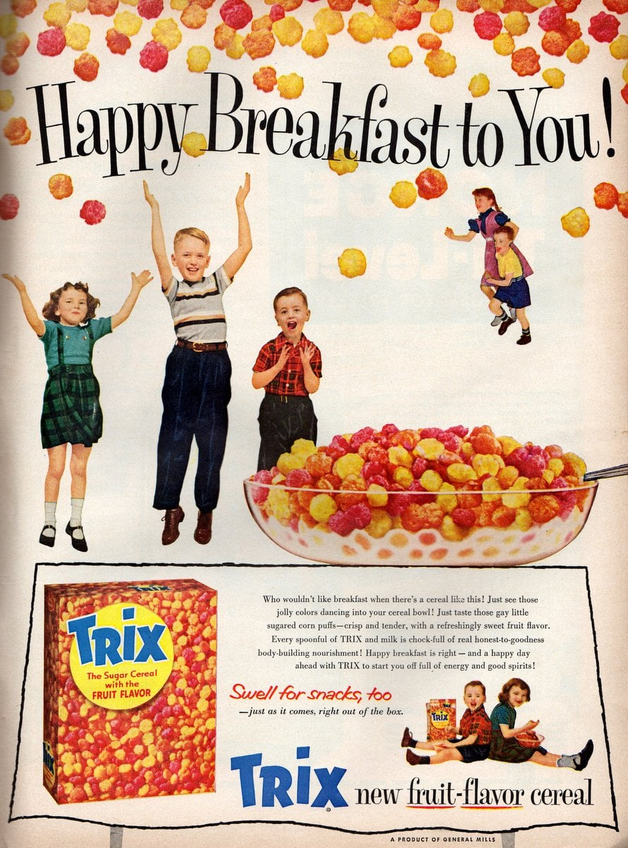 New Trix cereal Jolly colors dance into your bowl! (1956)