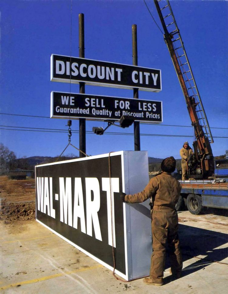New Wal-Mart sign being installed in 1988