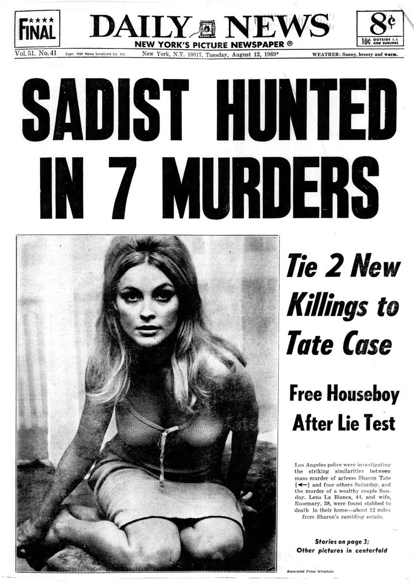 New York Daily News - August 12 1969 - Manson murder headlines - Sharon Tate