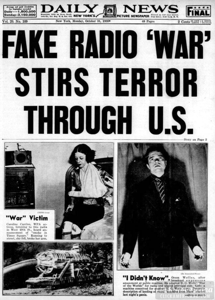 New York Daily News - War of the Worlds radio broadcast headline - October 31 1938
