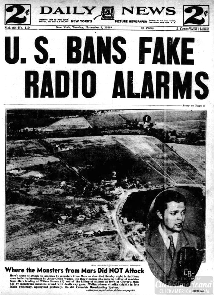 New York Daily News - War of the Worlds radio broadcast headlines - November 1 1938