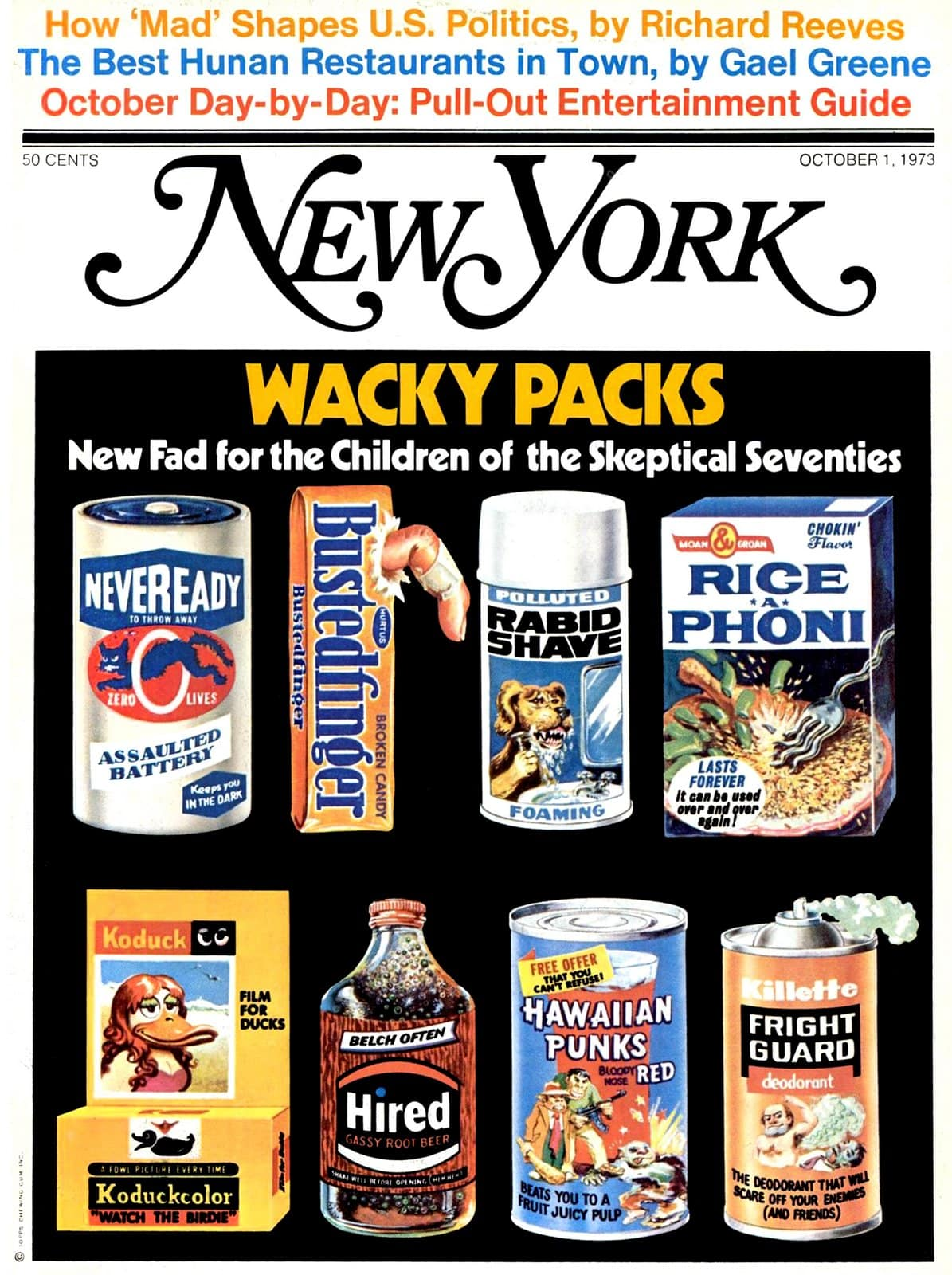New York Magazine Wacky Packs cover (1973)