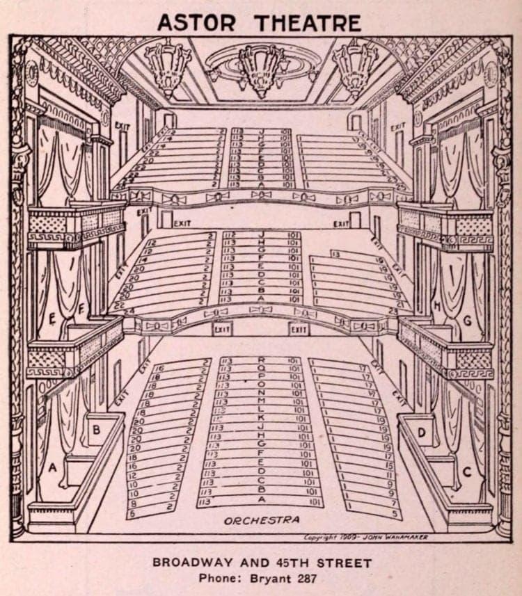 New York Theatres in 1922 - Astor Theatre