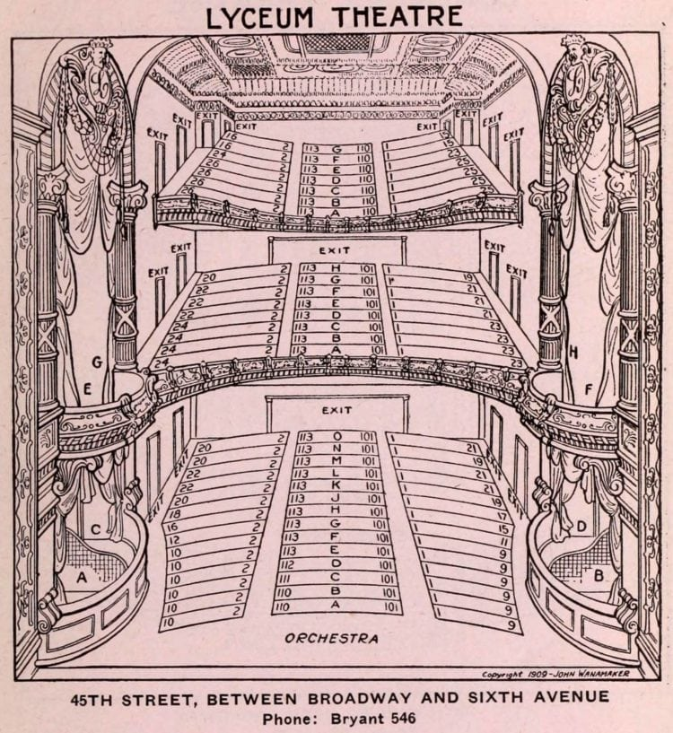 New York Theatres in 1922 - Seating chart - Lyceum Theatre