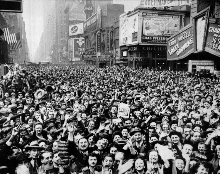 New York Times Square cheering the news of the unconditional surrender of Germany