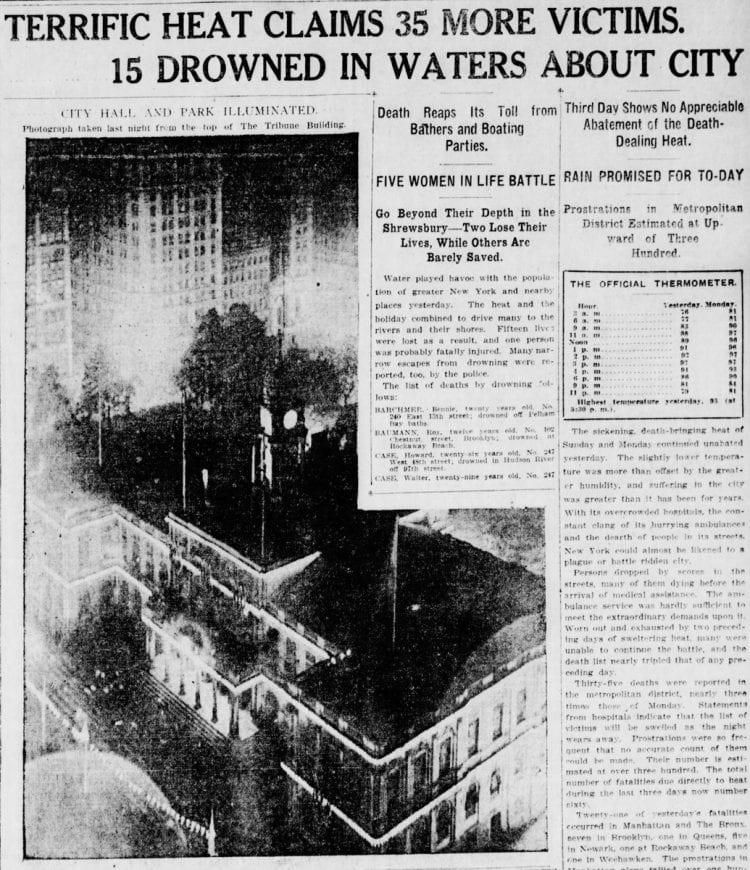 New York heat wave newspaper - July 5 1911