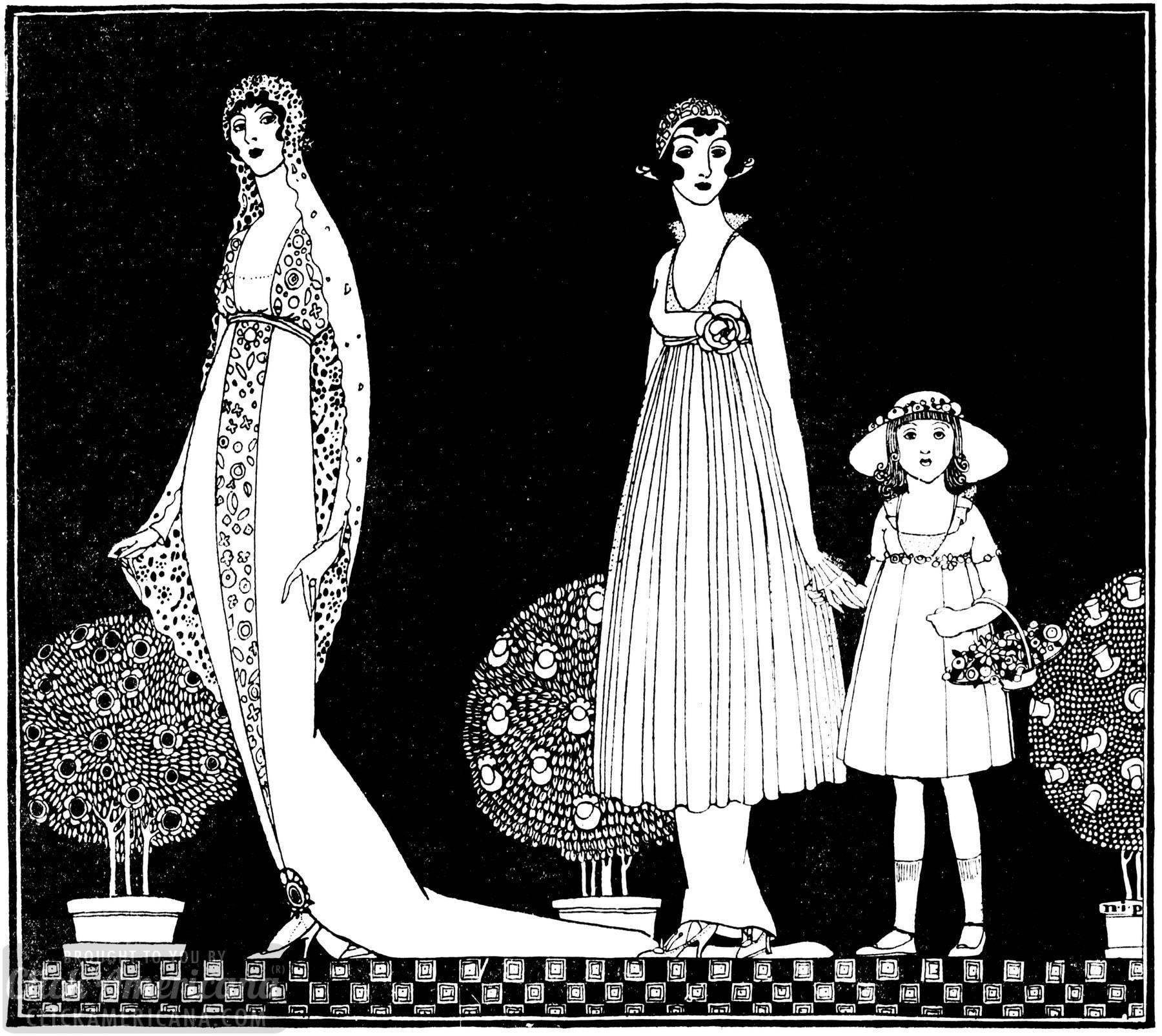 New York wedding dress and attendants 1914