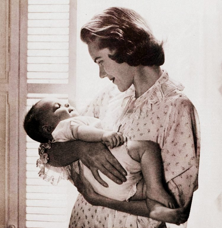 New mother with her baby in 1955