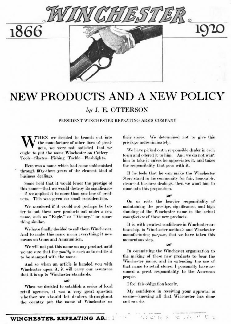 New products and a new policy (1920)