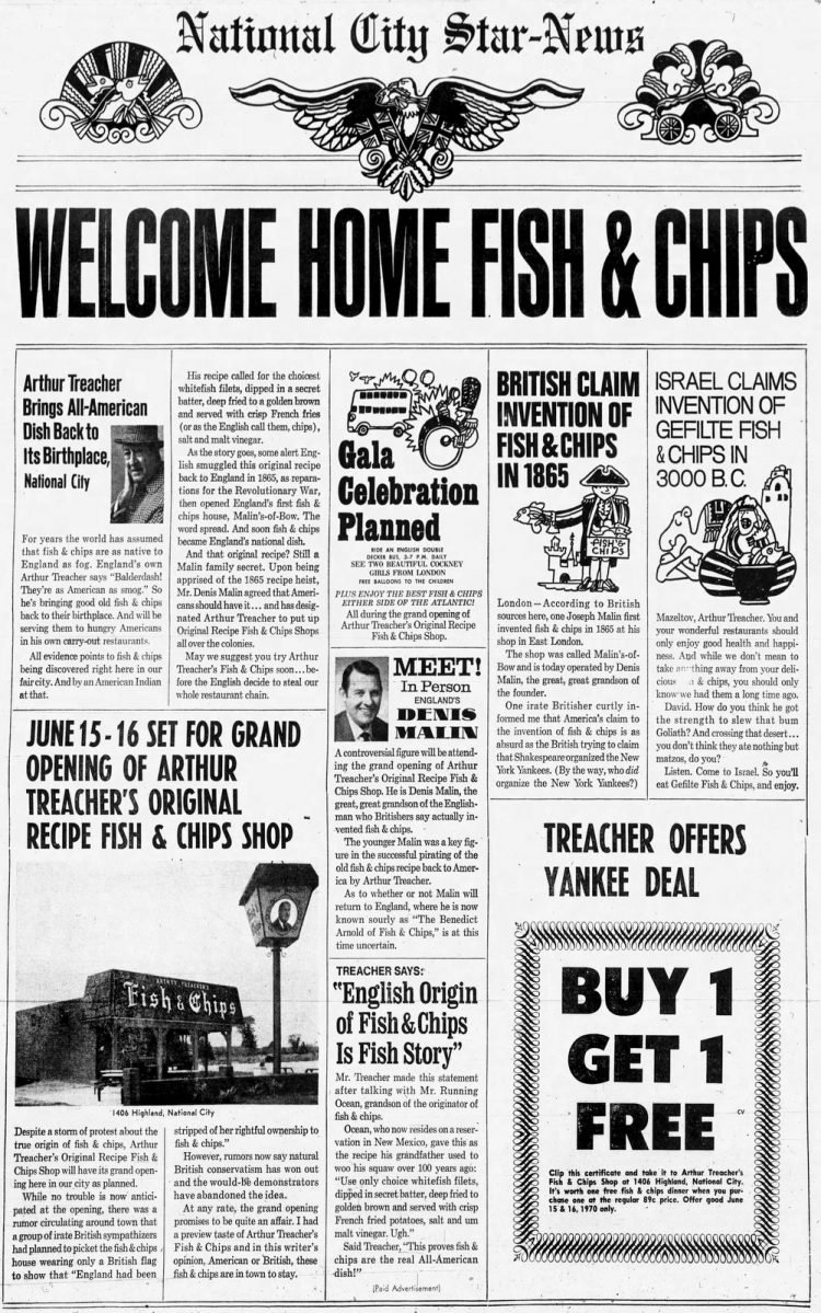 Newspaper ad for Arthur Treacher fish n chips - June 1970