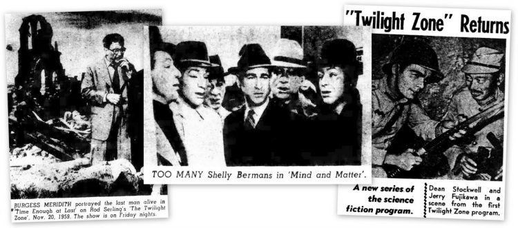 Newspaper clips of scenes from classic Twilight Zone episodes