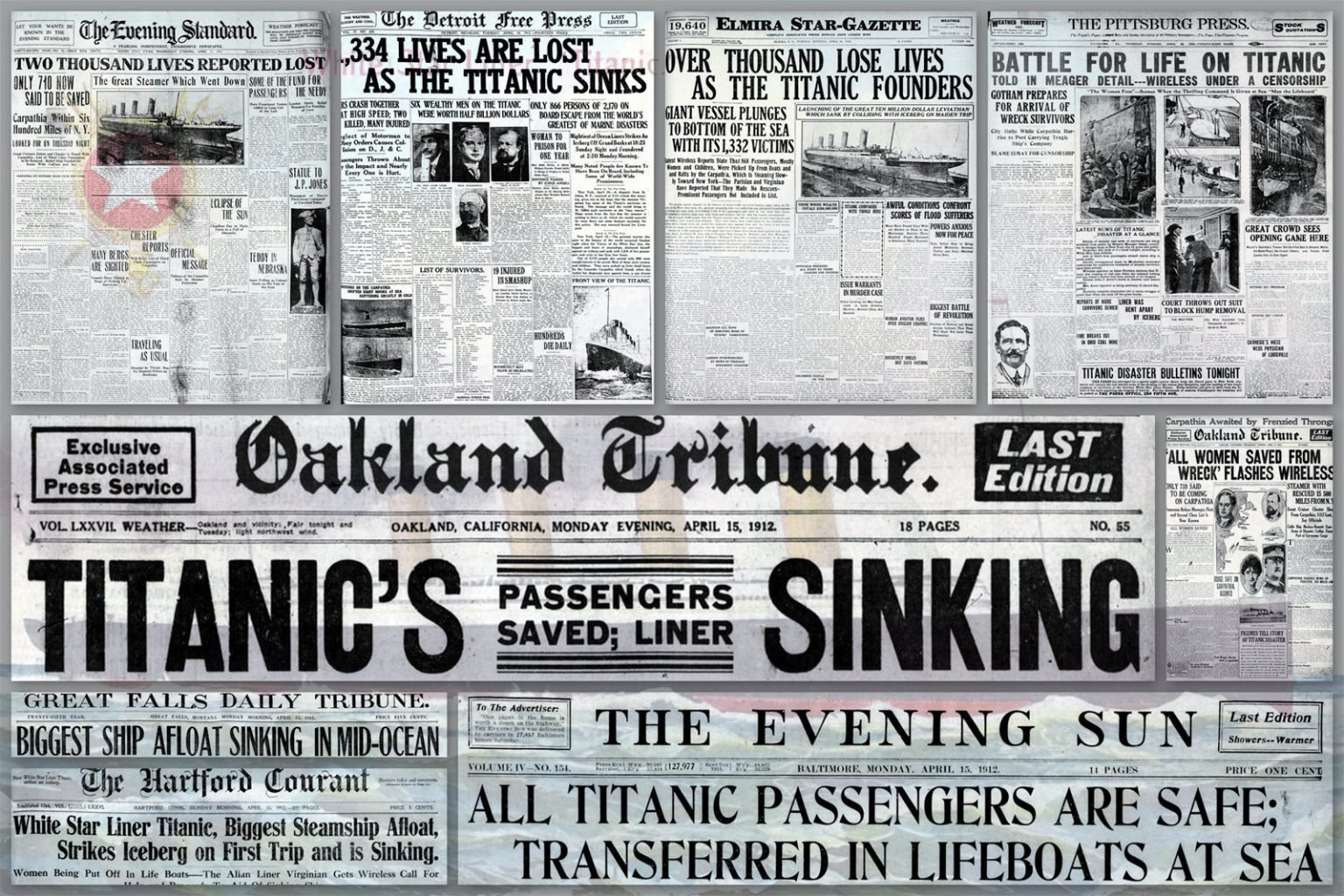 Newspaper front pages with the first Titanic stories (1912)