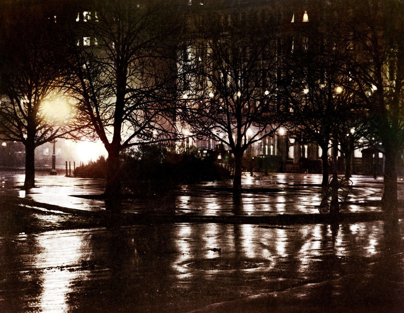 Night reflections in New York City (1897) - Colorized