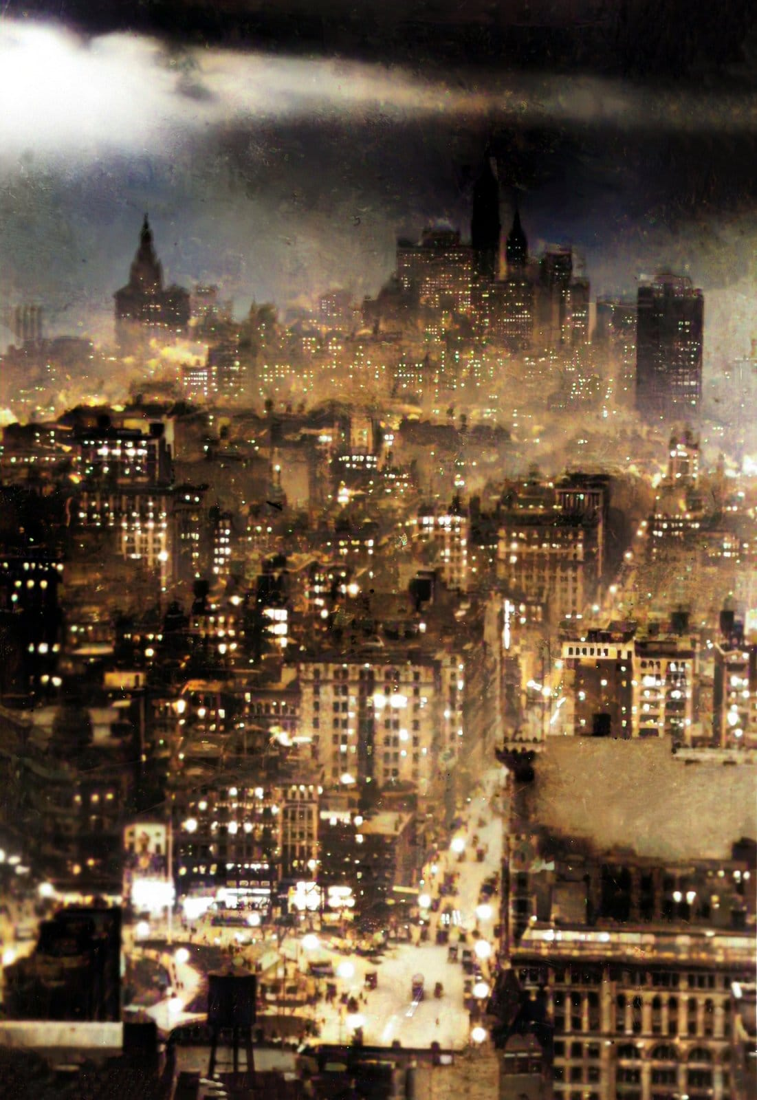 Night view of lower New York City from the Metropolitan Tower (around 1920)