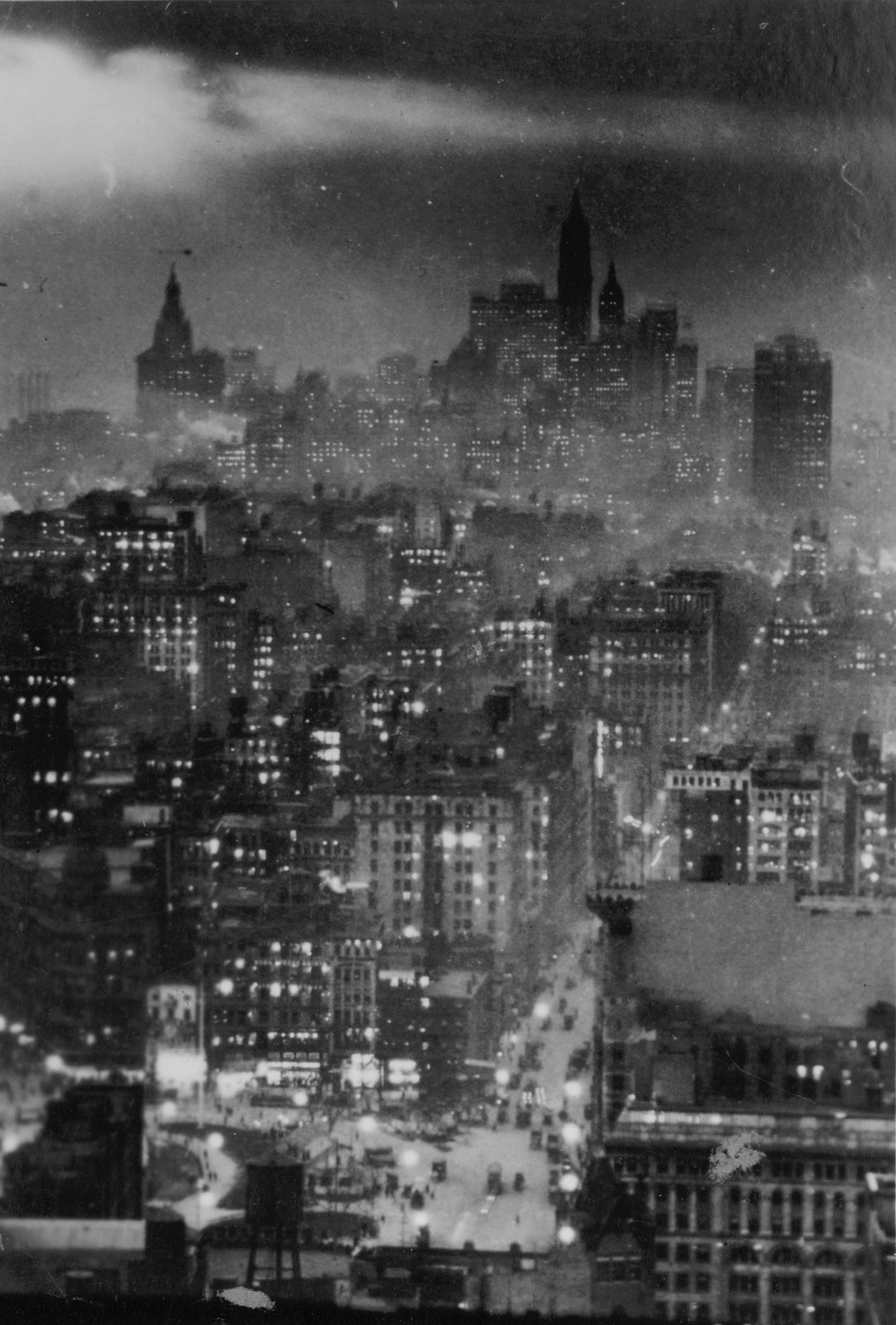Night view of lower New York City from the Metropolitan Tower (c1920)