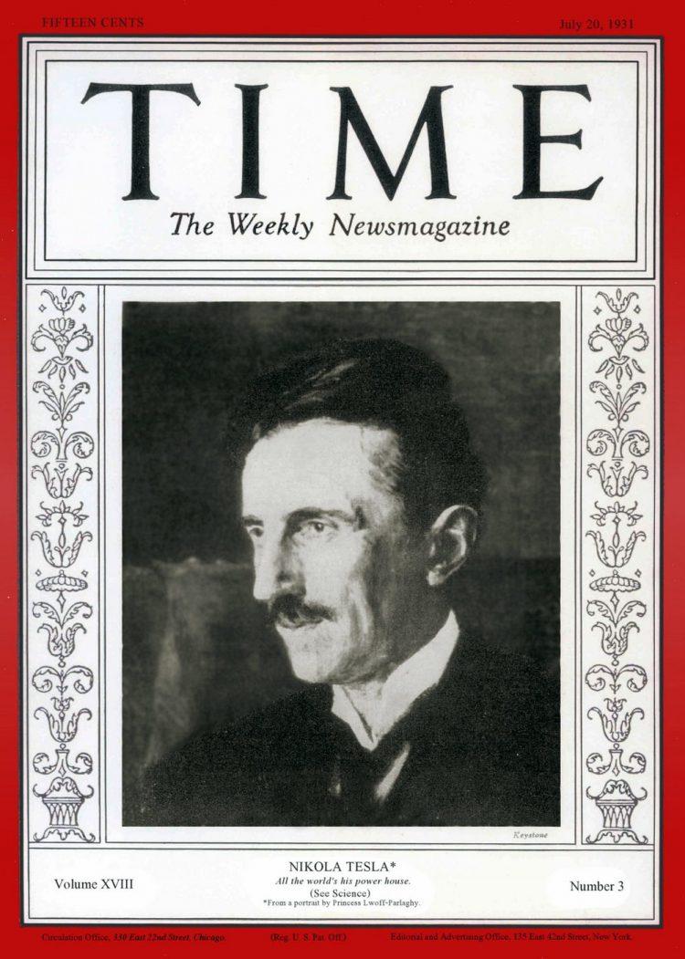Nikola Tesla Time magazine cover - July 20, 1931
