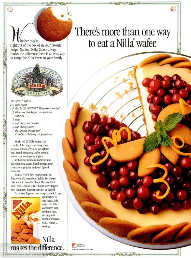 Nilla wafer cranberry cheesecake - Orange-cranberry vanilla wafer dessert recipe from 1994