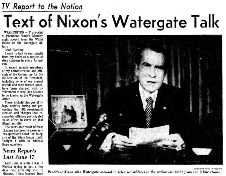 Nixon's first Watergate speech - Text