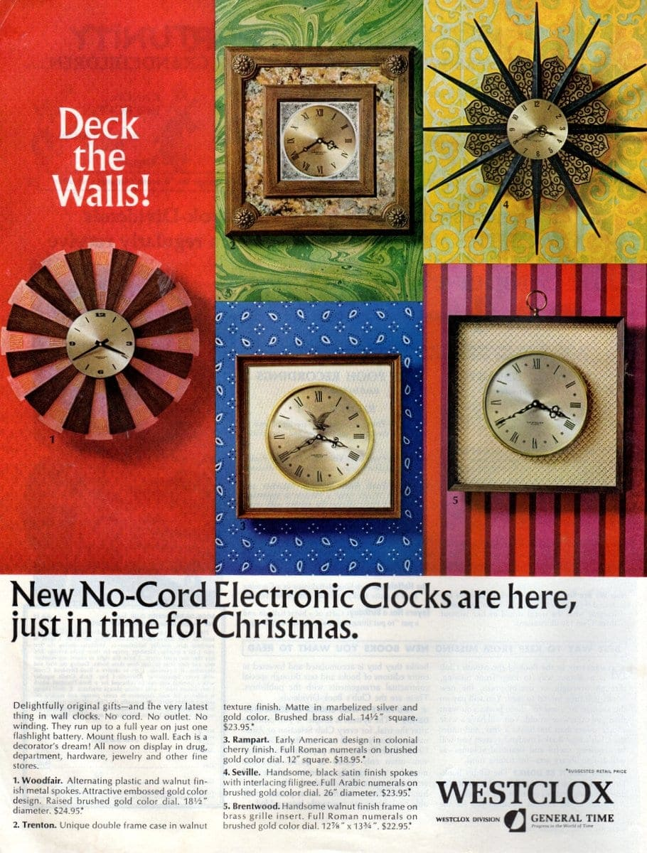 No-Cord Electronic Clocks from 1966