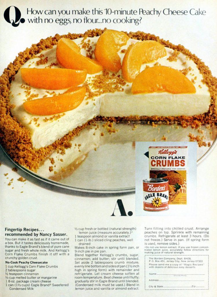 No-bake peachy cheesecake vintage recipe (1968)