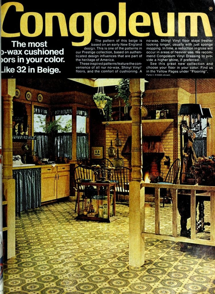 No-wax cushioned floor - Beige early New England design (1976)