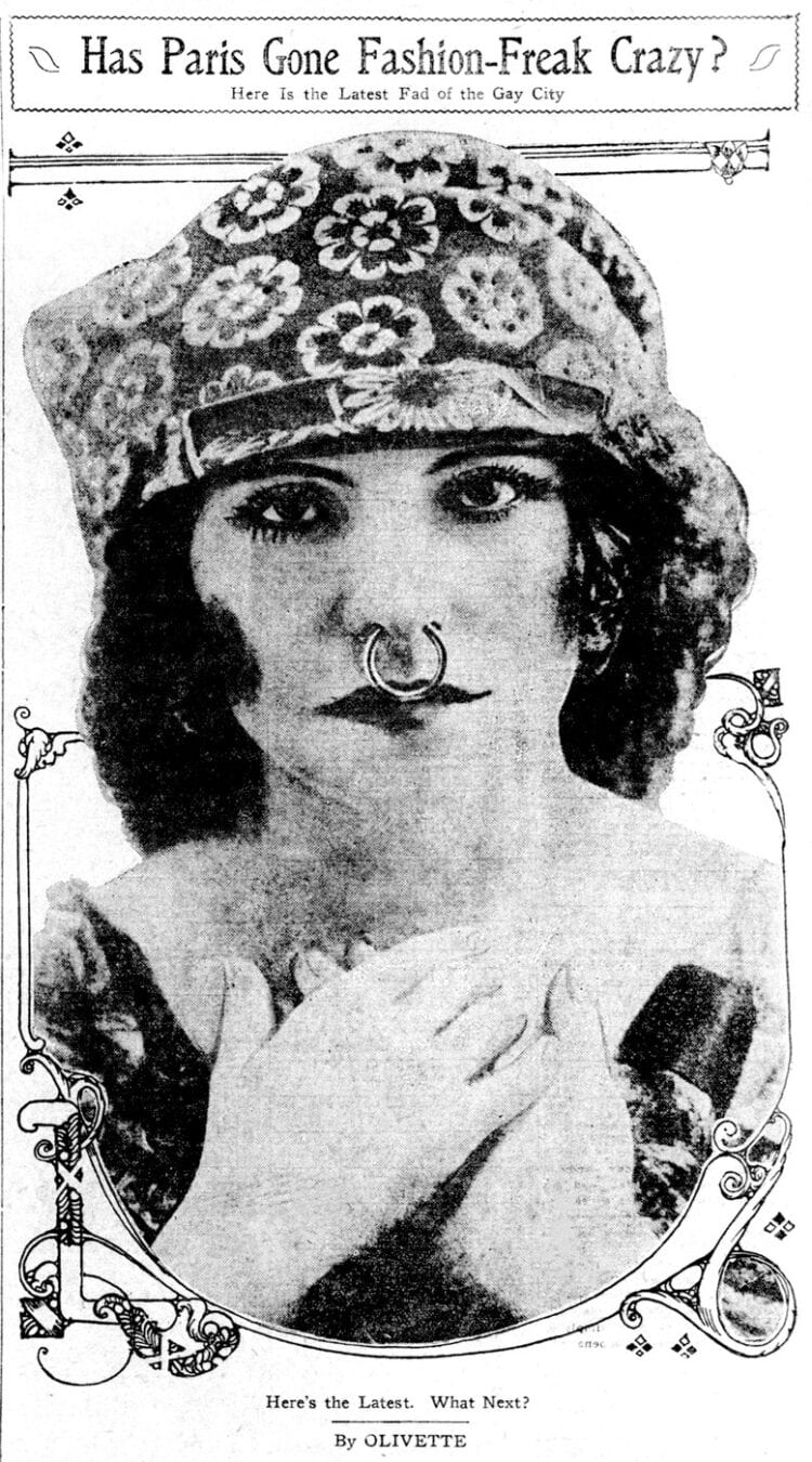 Nose rings Is Paris fashion-freak crazy (1913)
