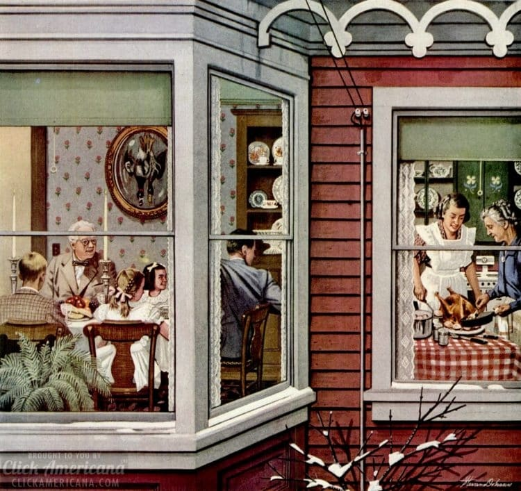 Nov 13, 1950 Thanksgiving dinner with family - seen from outside