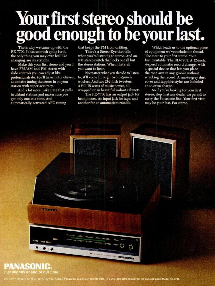 Nov 14, 1969 Panasonic stereo