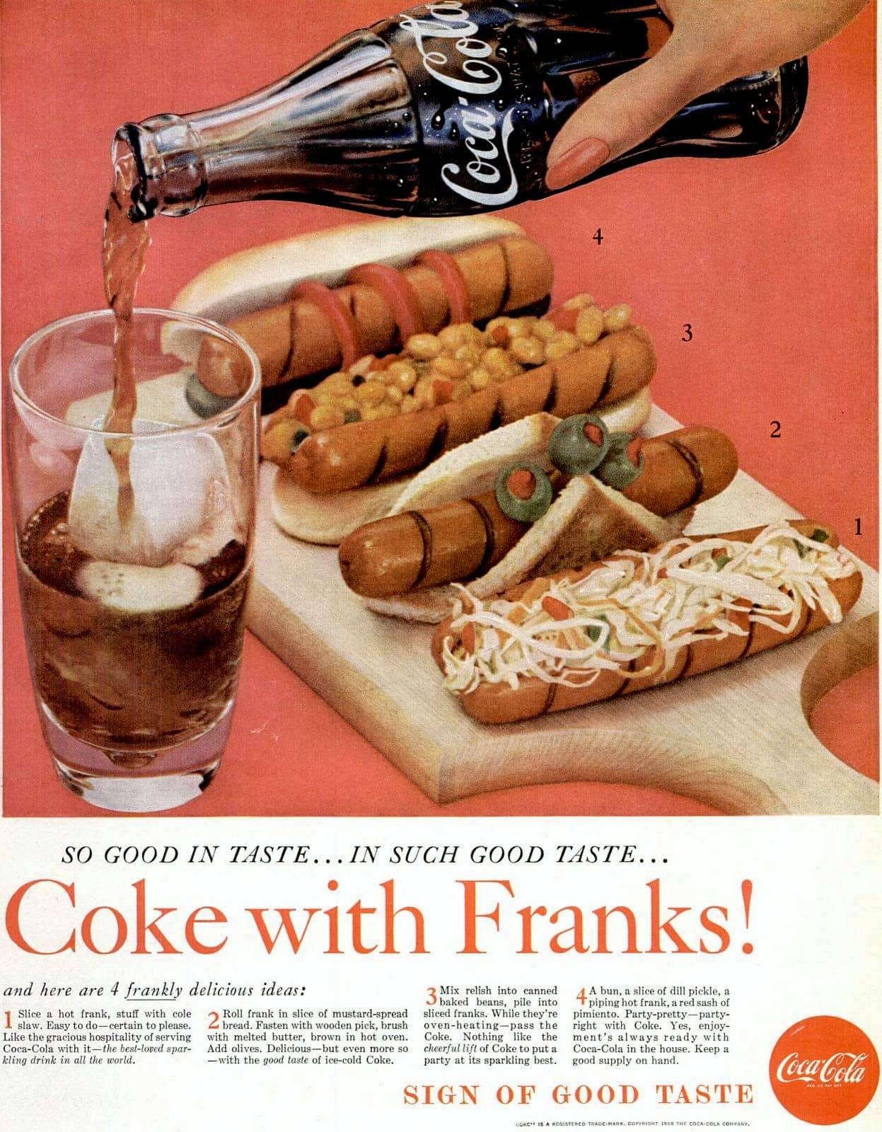 Nov 1959 Hot dogs - food