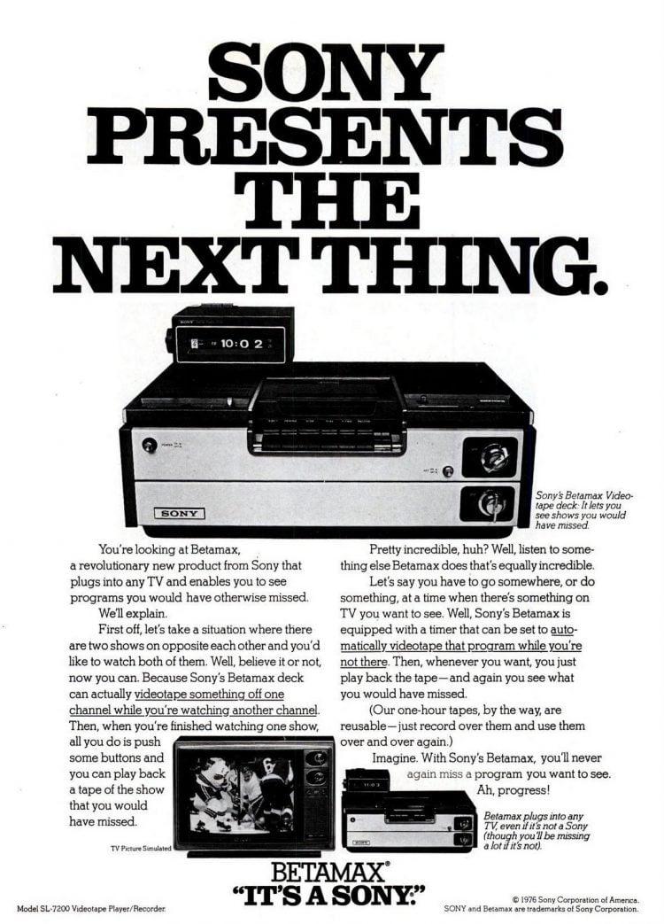 Nov 22, 1976 Sony Betamax video recorder