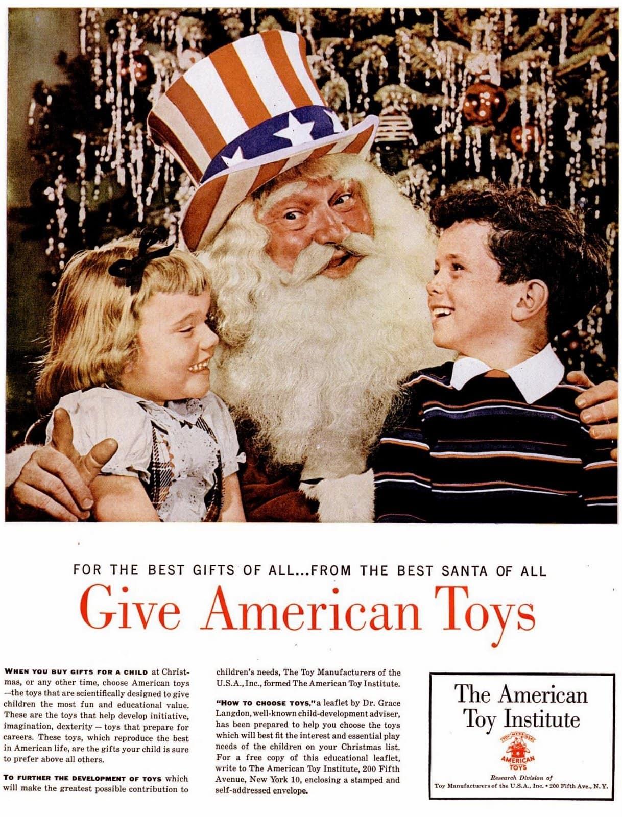 Nov 23, 1953 - Santa says give American toys to kids for Christmas