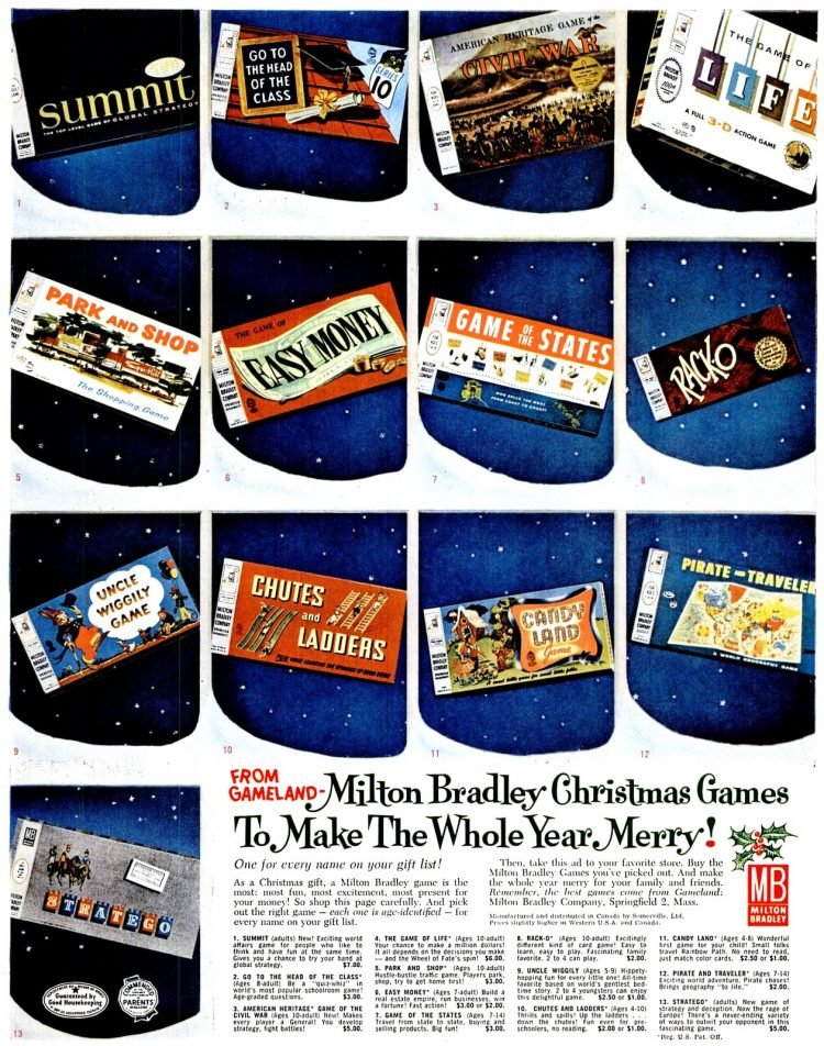 Nov 24, 1961 Milton Bradley board games