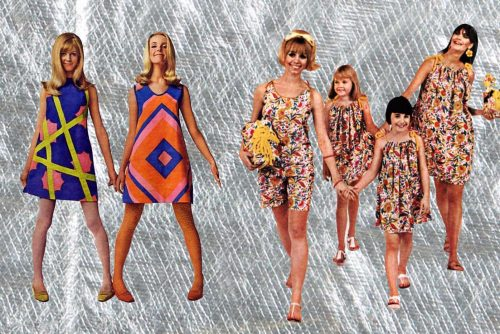Novelty fashion fads of the 60s paper dresses, foil dress-in-a-can