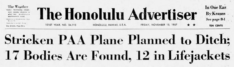 November 1957 Hawaii newspaper headlines - Pan American airliner crash (1)