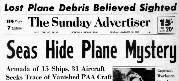 November 1957 Hawaii newspaper headlines - Pan American airliner crash (2)