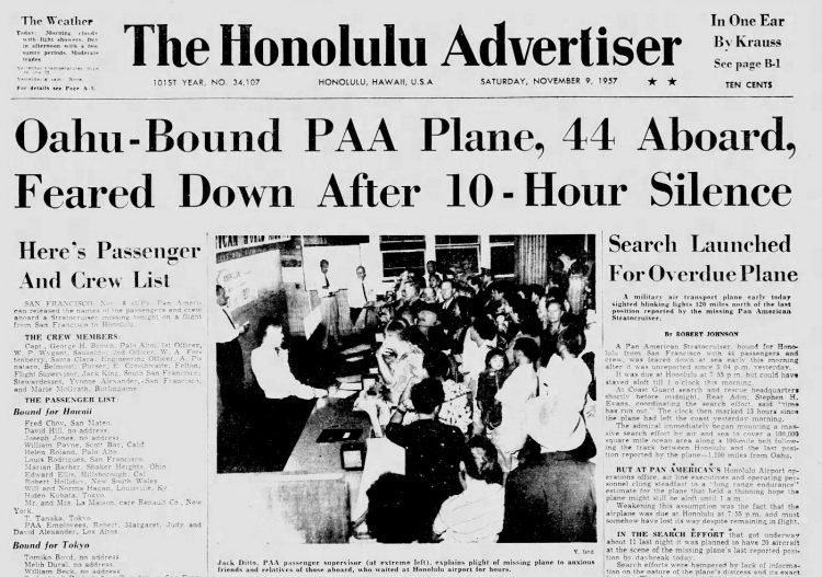 November 1957 Hawaii newspaper headlines - Pan American airliner crash (3)