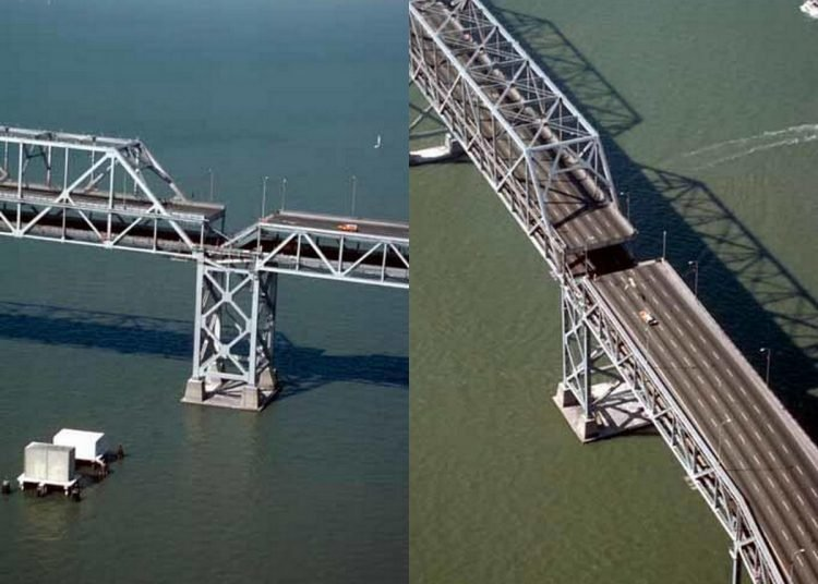 Oakland San Francisco Bay Bridge after Loma Prieta earthake October 1989