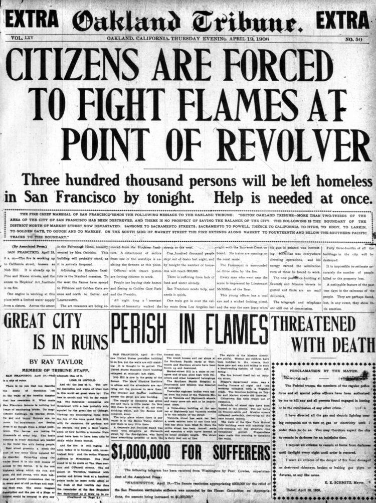 Oakland Tribune April 19 1906 - Day after San Francisco earthquake