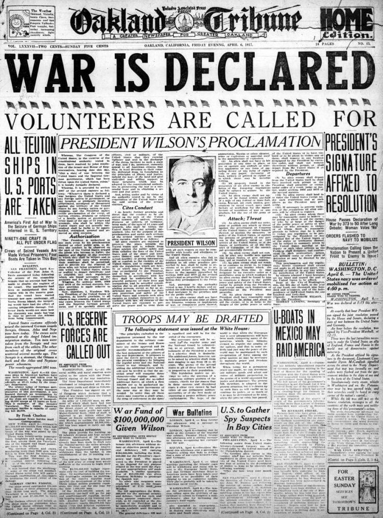Oakland Tribune newspaper front page - US in World War I - April 1917