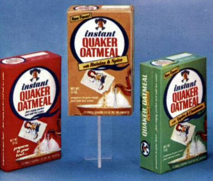 Oatmeal packet flavors from 1968