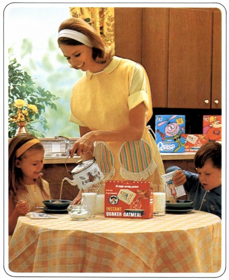 Oatmeal packets at breakfast from 1966