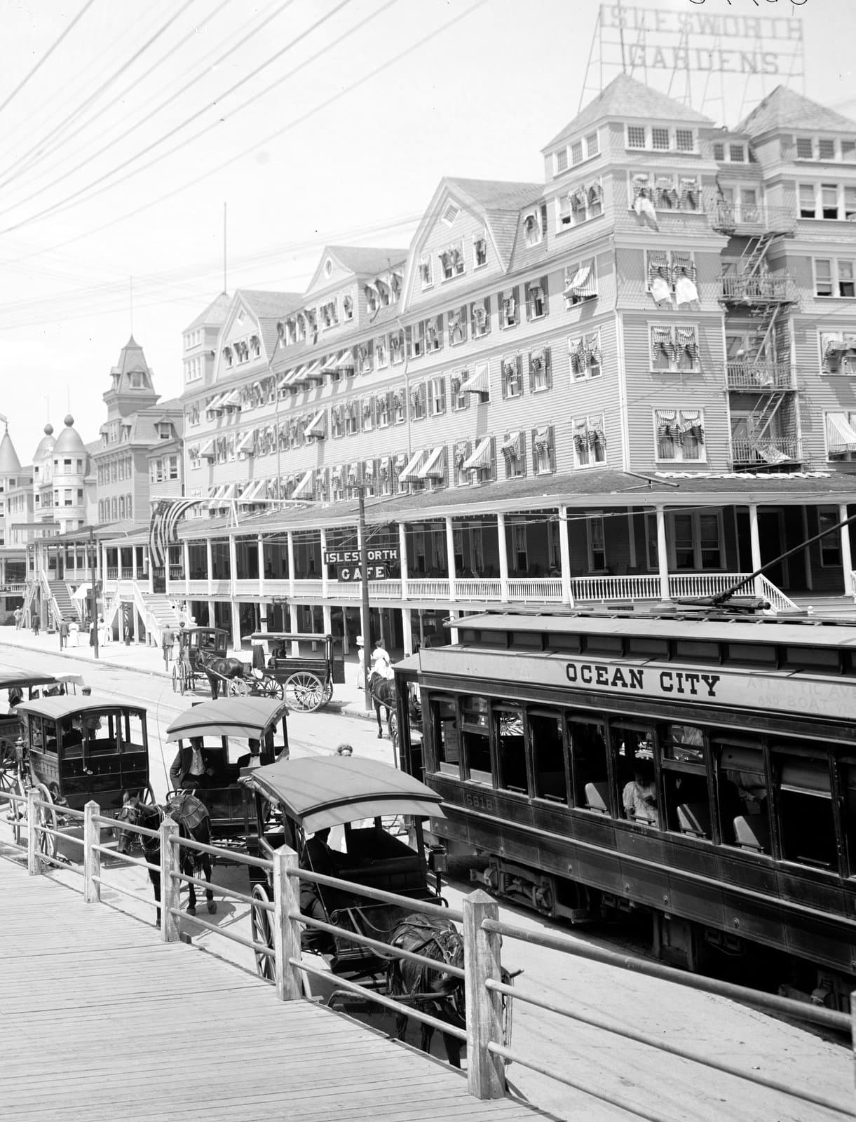 Ocean City trolley and buildings on the old Jersey Shore (1900s)