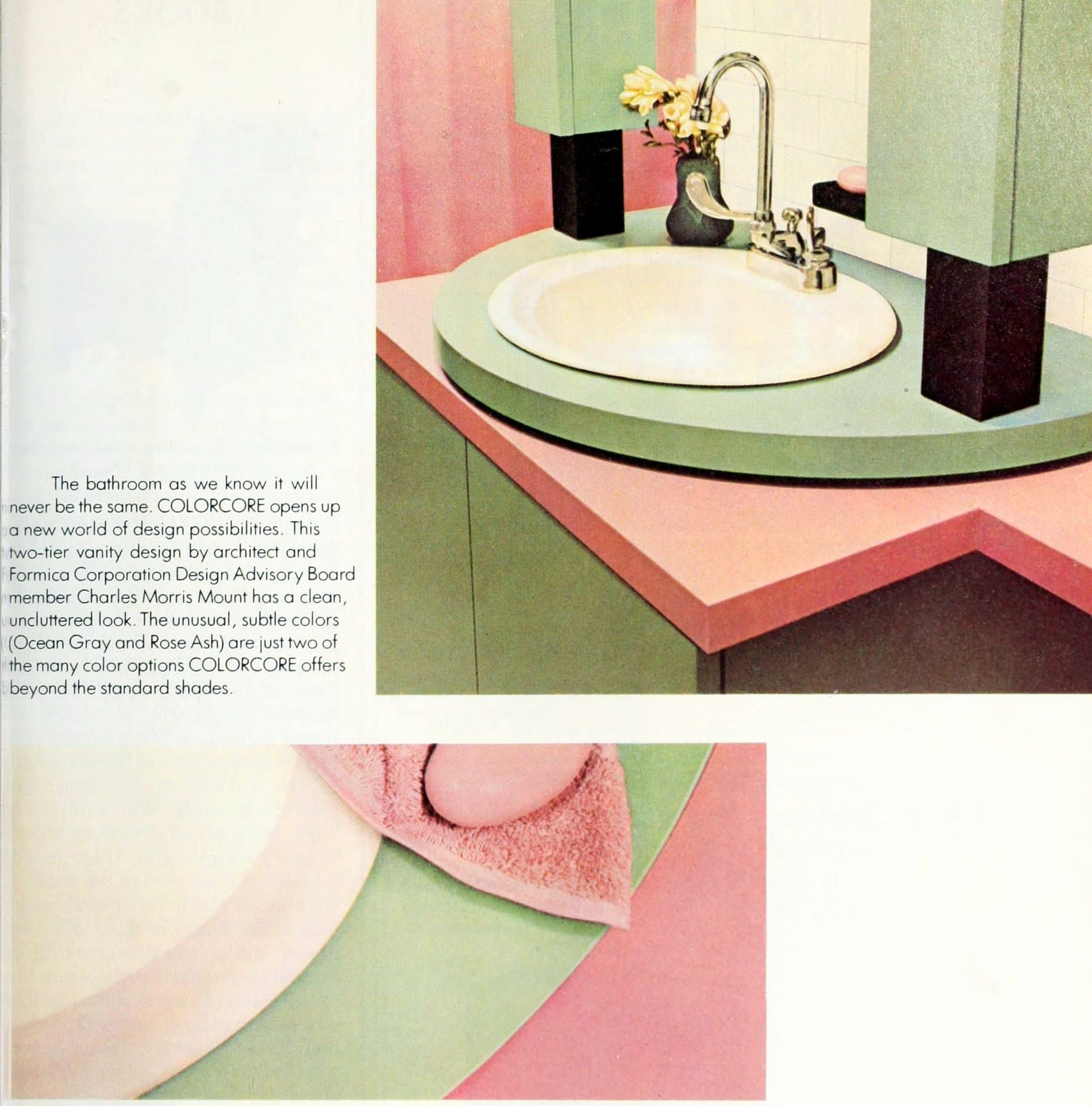 Ocean gray and rose ash ColorCore bathroom vanity decor (1983)