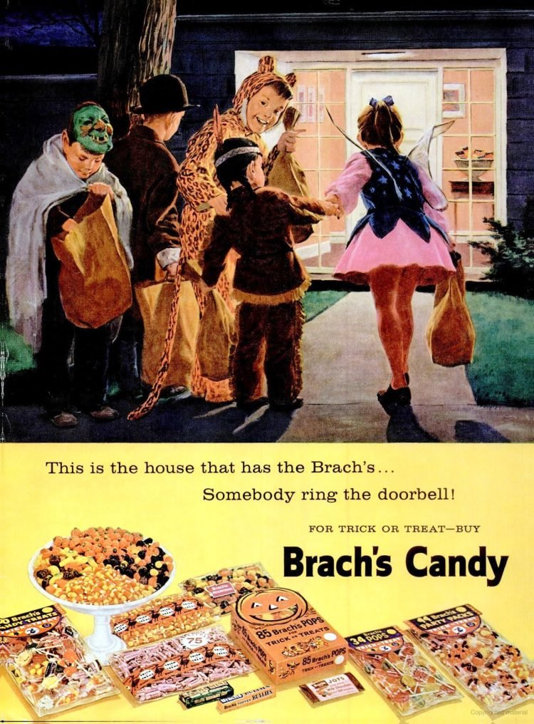 Kids trick-or-treating for vintage Halloween candy